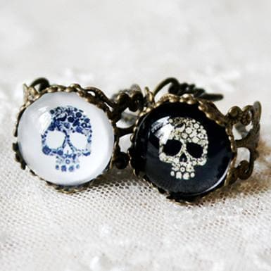 Black/White Skull Vintage Ring SP152613 - SpreePicky  - 1