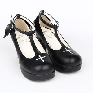 Black Angell Wing And Cross Lolita Princess Shoes SP154045 - SpreePicky  - 3