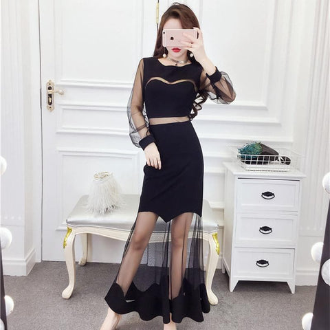 Black Chic Tulle Long Dress SP1811767