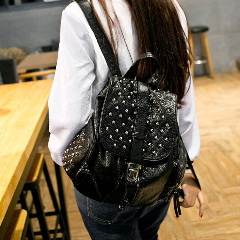 Black Fashion Rivets Backpack SP154299 - SpreePicky  - 1