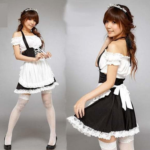 Black Maid Dress Shoulder Off Dress SP141197