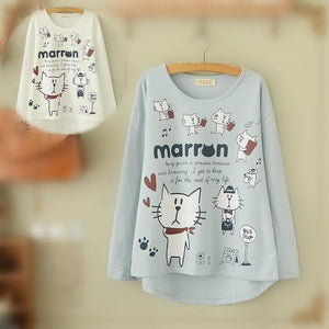 Blue/Beige What A Kitty Daily Life Jumper Shirt SP154313 - SpreePicky  - 1