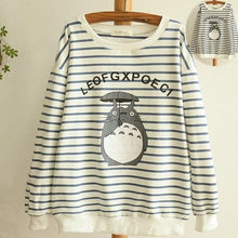 Load image into Gallery viewer, Blue/Navy Stripe Totoro Mori Girl Long Sleeve Jumper SP153463 - SpreePicky  - 1