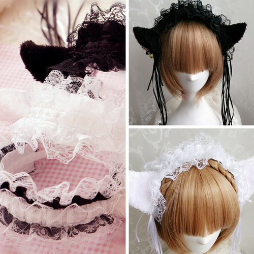 Cosplay Small Bells Lace Cat Ears Hair Band Hook SP141225