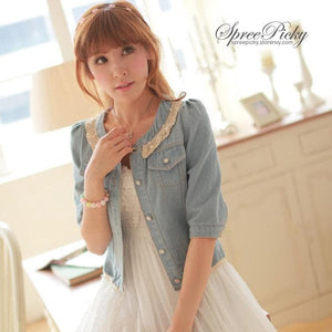 Dark Blue/Light Blue Denim With Lace Collar and Bubble Sleeves Jacket Coat SP141369 - SpreePicky  - 1