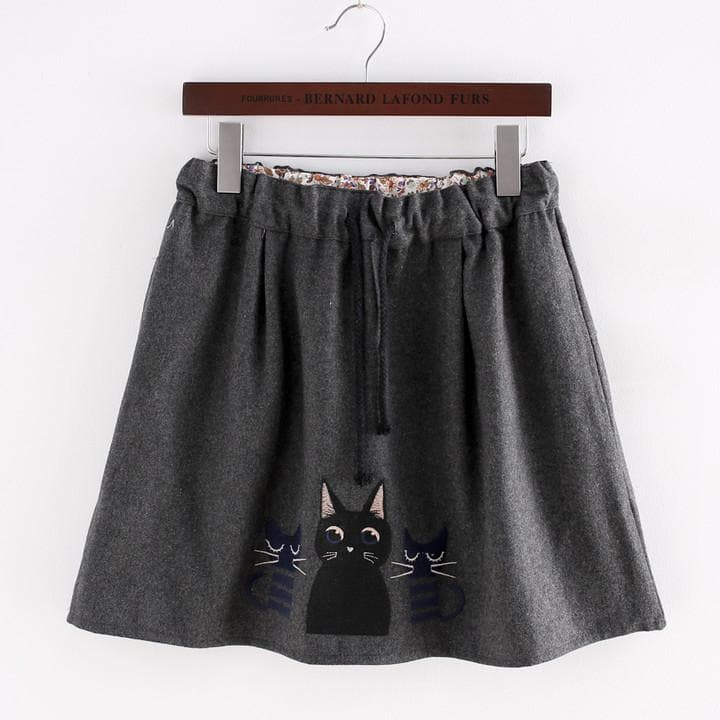 Dark Grey Kawaii Kitten Elastic Waist Skirt SP154035 - SpreePicky  - 1