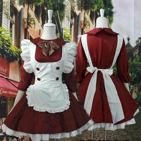Dark Red Lolita Maid Dress  SP141207