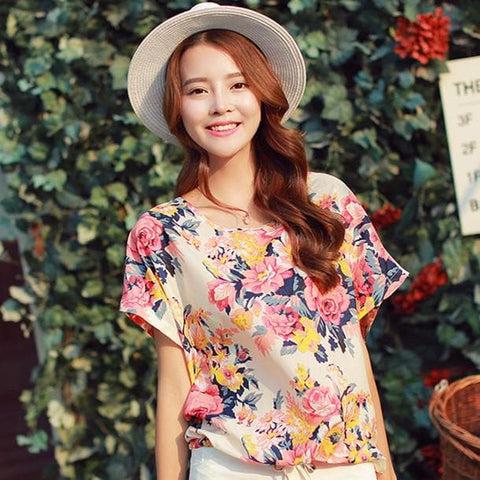 M/L Floral Round Collar Loose Chiffon Shirt SP152624 - SpreePicky  - 1