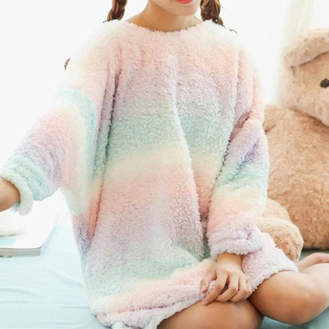 Fluffy Rainbow Ice-cream Fleece Dress Home Wear SP164913 - SpreePicky  - 1