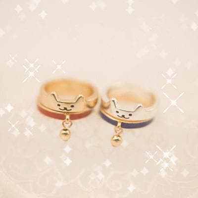 Golden/Silver Cutie Kitty Cat Bell Ring SP153289