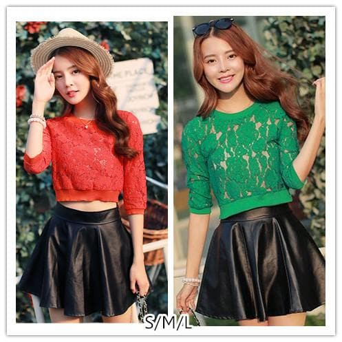 S/M/L Green/Orange Hollow Out Lace Crop Top SP152603 - SpreePicky  - 1