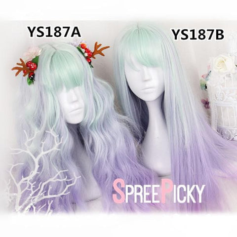 Green Purple Pastel Gradient Lolita Long Wig SP179082