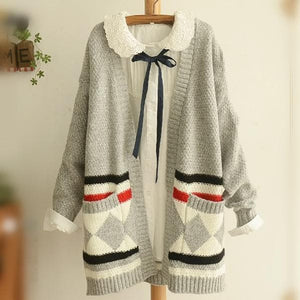 Grey/Black Mori Girl Long Sleeve Cardigan Sweater Coat SP153456 - SpreePicky  - 1