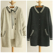 Load image into Gallery viewer, Grey/Black Mori Girl Long Sleeve Cardigan Sweater Coat SP153462 - SpreePicky  - 1