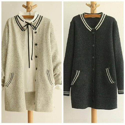 Grey/Black Mori Girl Long Sleeve Cardigan Sweater Coat SP153462 - SpreePicky  - 1