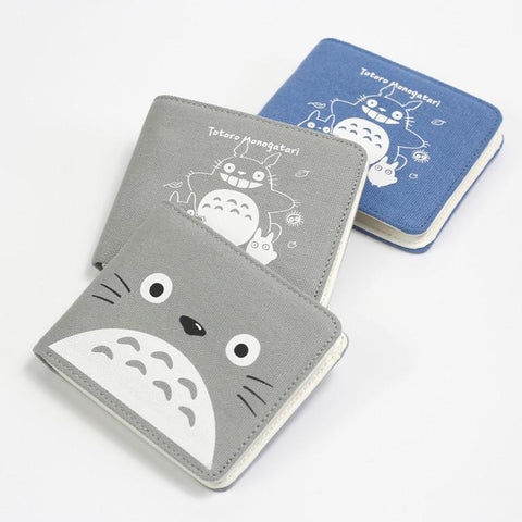 Grey/Blue Kawaii Totoro Double Fold Purse Wallet SP165366