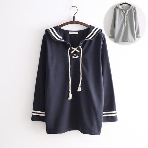 Grey/Navy Kawaii Sailor Collar Long- Sleeve Pullover Shirt SP165115