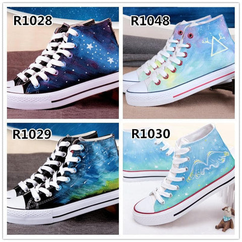 Hand-Painted Rainbow Gradient Canvas Shoes SP168545