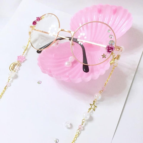 Retro Rose Round Glasses Frame with Lolita Accessories SP165739