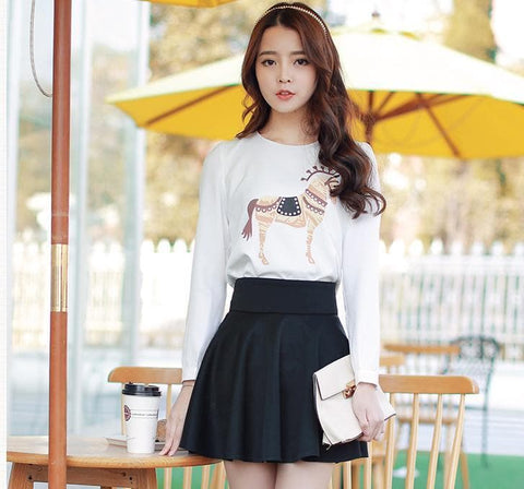 S-XL Horse Printing Long sleeves T-Shirt + Skirt Set SP152623 - SpreePicky  - 1