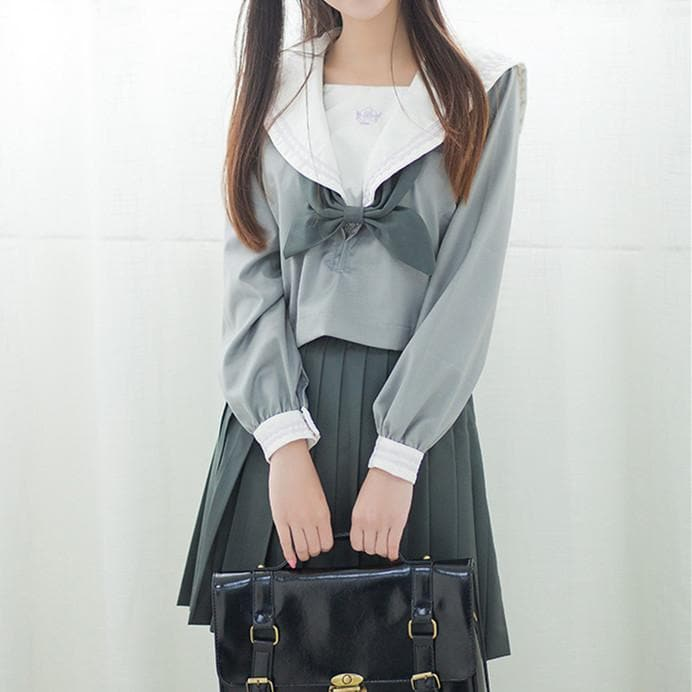 Japanese Grey Sailor Uniform Top/Skirt SP164936/SP164937 - SpreePicky  - 1