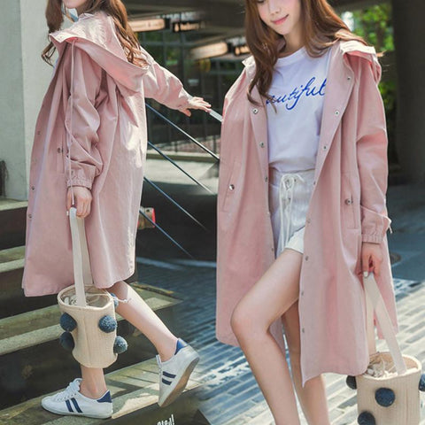 Pink/Light Green/Navy Soft Oversize Long Hoodie Jacket SP178989