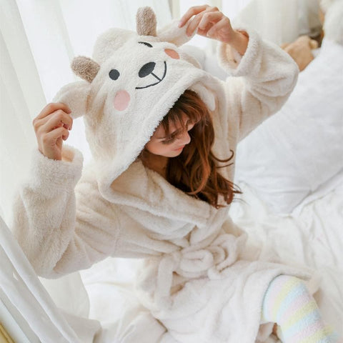 Kawaii Sheep Fleece Hoodie Pajamas Coat SP164912 - SpreePicky  - 1