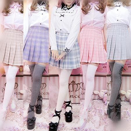5 Colors S/M/L Pastel Grids Pleated Skirt SP166749