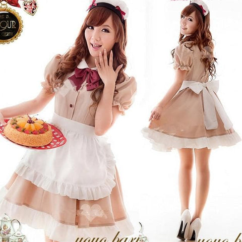 Khaki Coffee Cafe Maid Dress SP141205