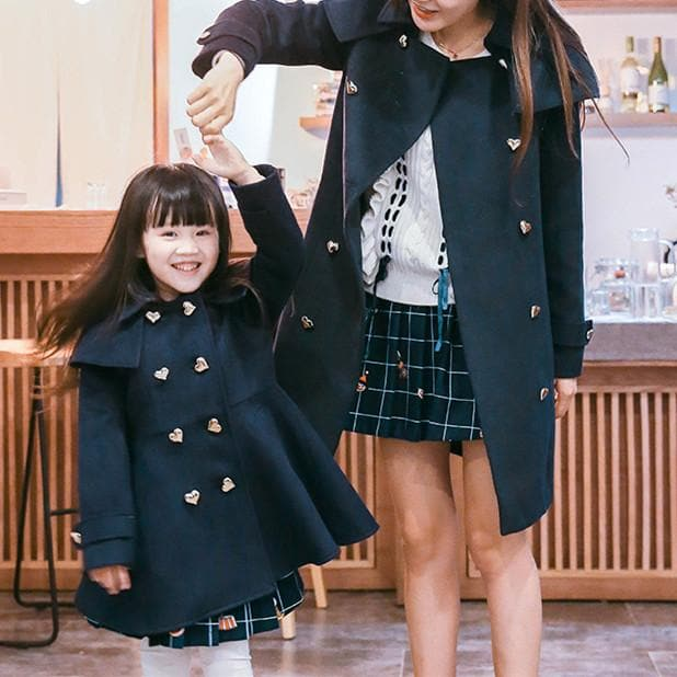 Kids Heart Button Double Breast Elegant Midi Woolen Coat SP168391