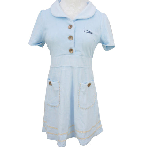 Light Blue Nurse Style Coral Velvet Dress SP140912 - SpreePicky  - 1