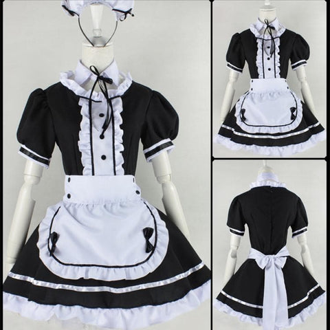 Lolita Cosplay BlacK Maid Dress With Apron  SP141076 - SpreePicky  - 1
