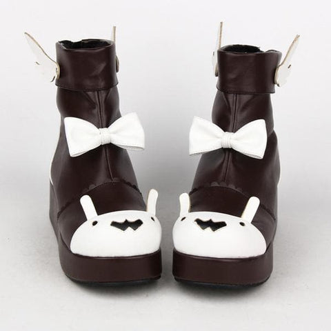 Lolita High Platform Shoes With Bowknot and Wings SP165019
