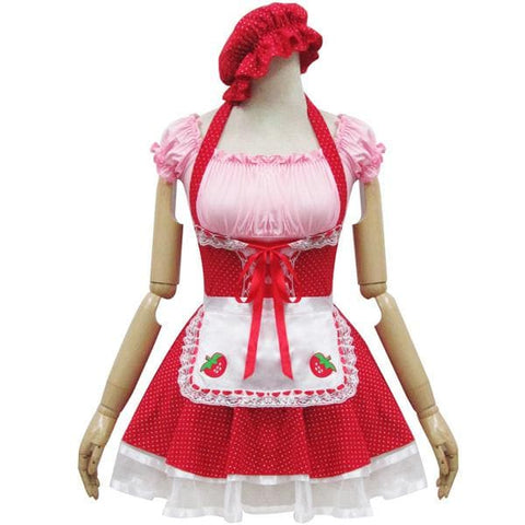 Lolita Miss Pinky Strawberry Maid Dress with Apron SP153692 - SpreePicky  - 1