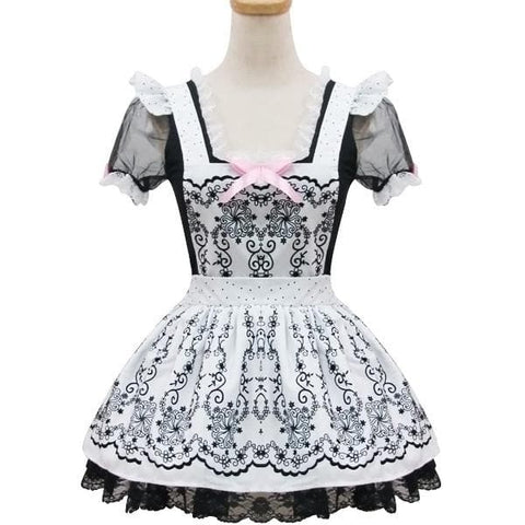 Lolita Retro Floral Lace Princess Maid Dress Cosplay Costume  SP153687