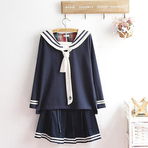 M-XL Beige/Navy Long Sleeve Sailor Top with Skirt Uniform Set SP153608 - SpreePicky  - 2