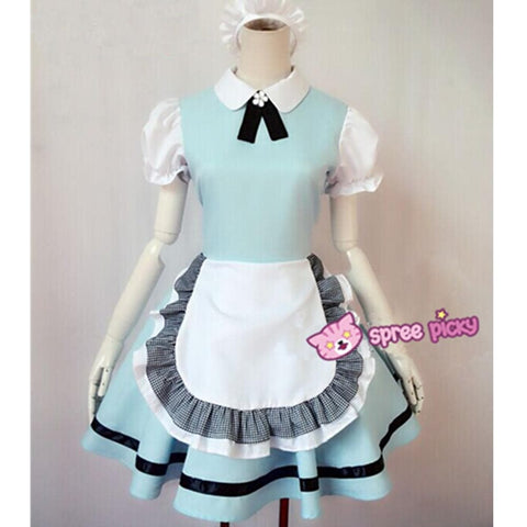 M/L Pastel Blue Lolita Maid Dress Cosplay Costume SP153557
