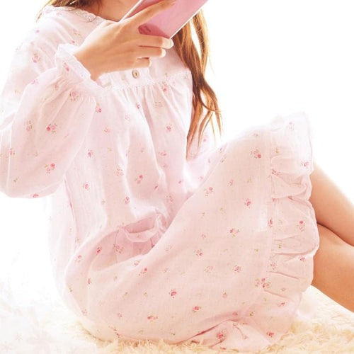 Mori Girl Pastel Floral Home Wear Pajamas Dress SP164916 - SpreePicky  - 1