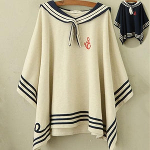 Navy/Beige Simple Sailor Loose Cape Coat SP153451 - SpreePicky  - 1