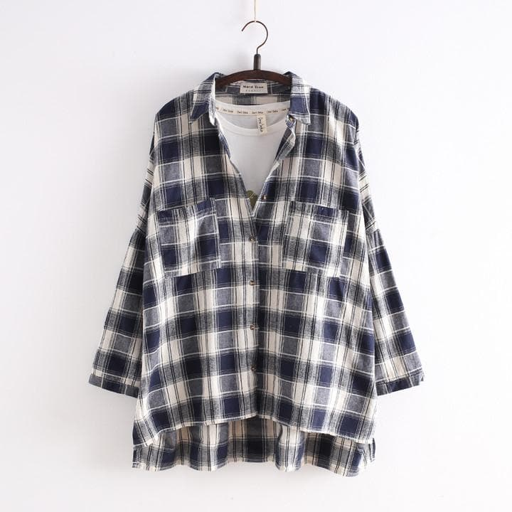 Navy/Black Korean Style Student Lattice Shirt SP154034 - SpreePicky  - 1