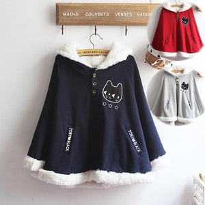 Navy/Red/Grey Sweet Girl Cutie Cat Cape Coat SP153479 - SpreePicky  - 1