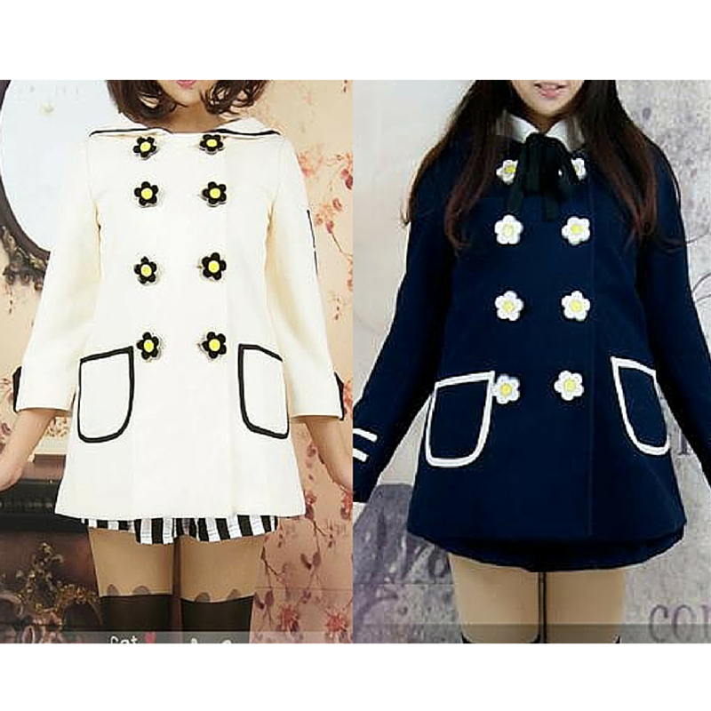 Navy/White Daisy Flowers Coat SP153806/Pant-skirt SP154355 - SpreePicky  - 1