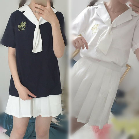 Navy/White Two-Piece Sailor Collar Shirt/High Waist Pleated Skirt SP166076