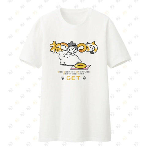 [Neko Atsume] S-2XL White Kawaii Neko Cat T-shirt SP165096