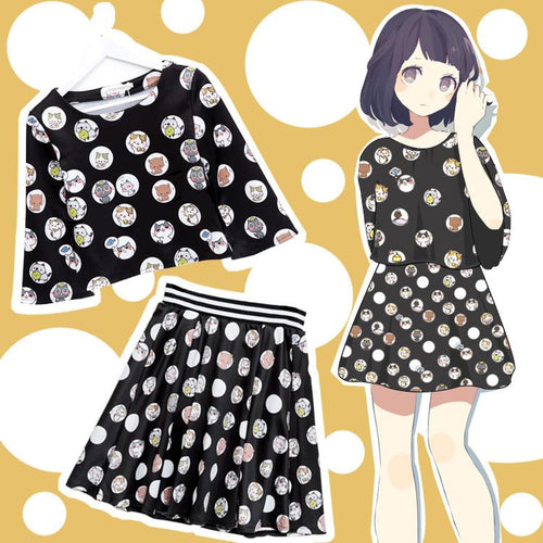 [Neko Atsume] S/M/L Black Neko Cat Top and Pankskirt Set SP165383