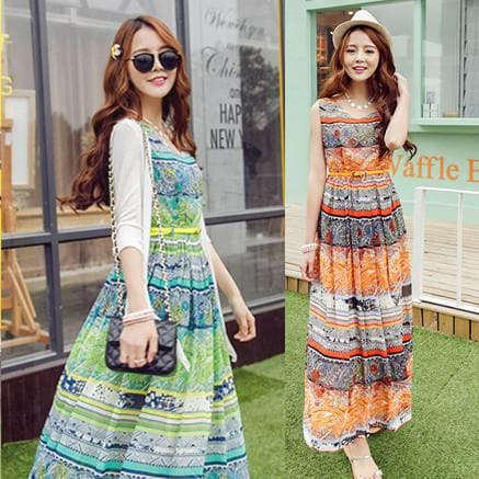 S-XL Orange/Green Bohemia Floral Printing Beach Maxi Dress SP152631 - SpreePicky  - 1