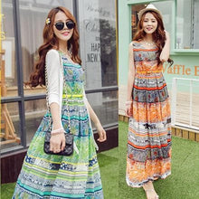 Load image into Gallery viewer, S-XL Orange/Green Bohemia Floral Printing Beach Maxi Dress SP152631 - SpreePicky  - 1