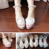 Pink/Blue/White Lolita Pearl High Platform Shoes SP165333