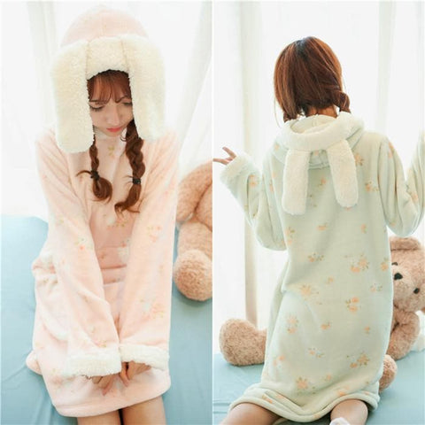 Pink/Green Kawaii Bunny Fleece Home Wear Pajamas Dress SP164907 - SpreePicky  - 1