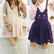 Load image into Gallery viewer, Pink/Violet Black Kawaii Candy Cat Cut Out Meow Suspender Dress SP165481